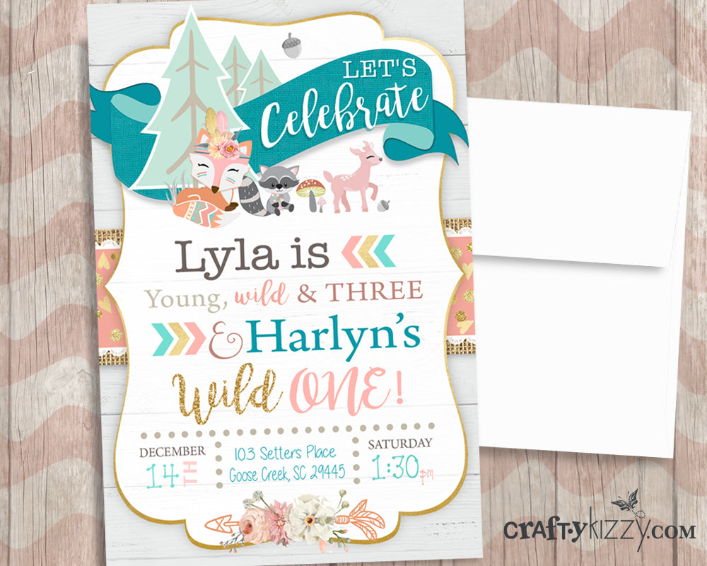 Young Wild And Three Joint Woodland Birthday Invitations Wild One
