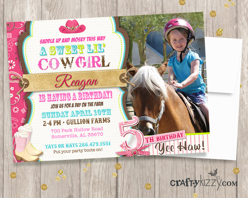 Cowgirl Invitation - Pink Cowgirl Birthday Party Invite - A Sweet ...