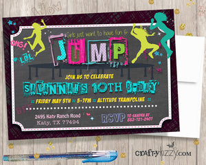 Trampoline Birthday Invitations - Jump Tween Girl Invitation - Girls Bounce House Printable Invites