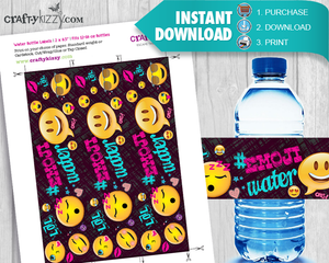 EMOJI Birthday Party Water Bottle Labels Printable Labels DIY Party Favor Decoration INSTANT DOWNLOAD