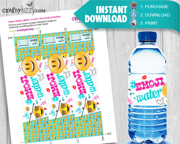 photograph regarding Water Bottle Labels Printable referred to as EMOJI H2o Bottle Labels Birthday Bash Printable Labels Do it yourself Celebration Desire Decoration Immediate Obtain