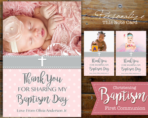 Girl Baptism Photo Thank You Card - First Communion Christening - Printable Digital File Personalized Note Card - Pink Single Child or Twins