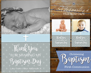 Boy First Communion Photo Thank You Card - Baptism Christening - Printable Digital File Blue Twins