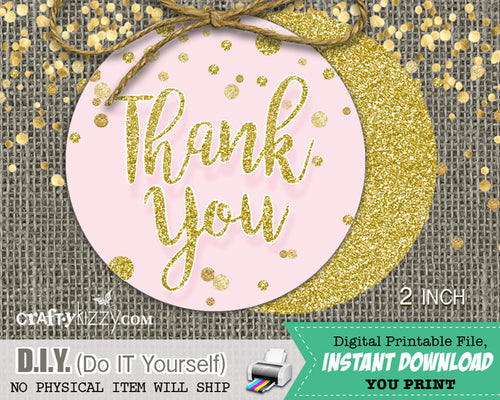 Pink & Gold Glitter Confetti Thank You Favor Tags - Baby or Bridal Shower Favors Wedding Tags 2 inch Circles - INSTANT DOWNLOAD - CraftyKizzy