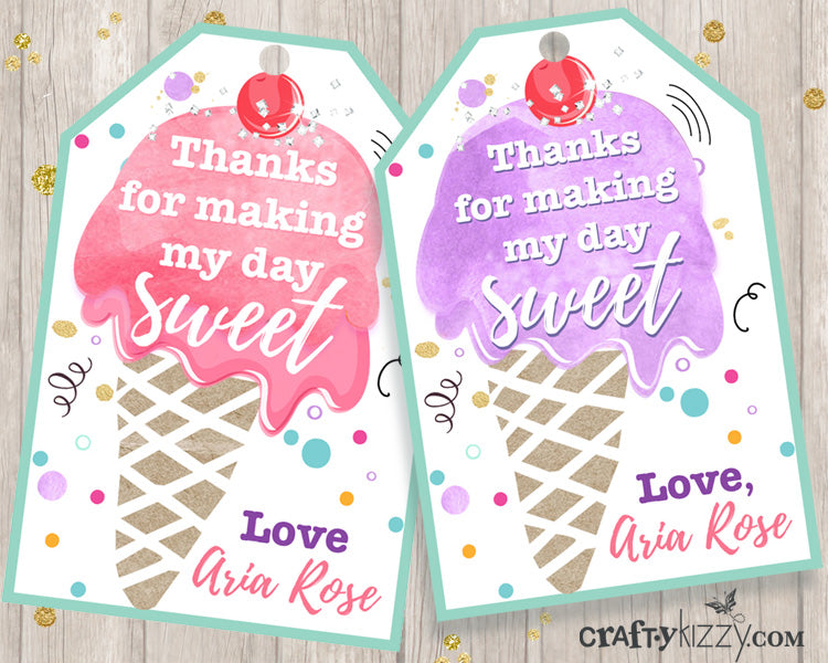 Ice Cream Favor Tags - Birthday Gift Tags