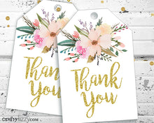 Watercolor Floral Thank You Tags - Baby Shower Bridal Shower Thank You - Birthday Thank You Tags - INSTANT DOWNLOAD - CraftyKizzy