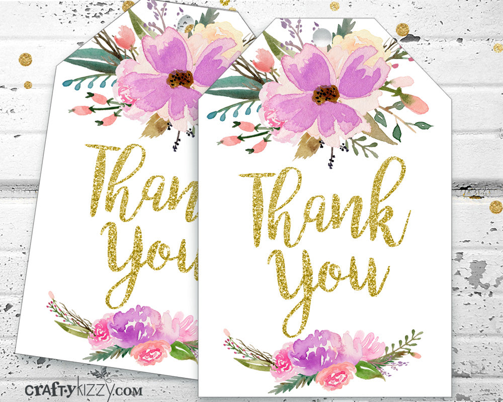 Floral Thank You Favor Tags - Purple Watercolor Thank You Tags - Bridal Shower Baby Shower Birthday Thank You Tags - INSTANT DOWNLOAD - CraftyKizzy
