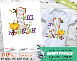 My First Halloween Onsie Outfit - Iron On Printable Halloween Baby Costume - Mouse Ears - INSTANT Download