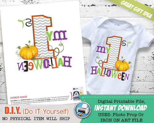 My First Halloween Outfit Iron On Printable - Halloween Costume - Halloween Baby Outfit  INSTANT Download