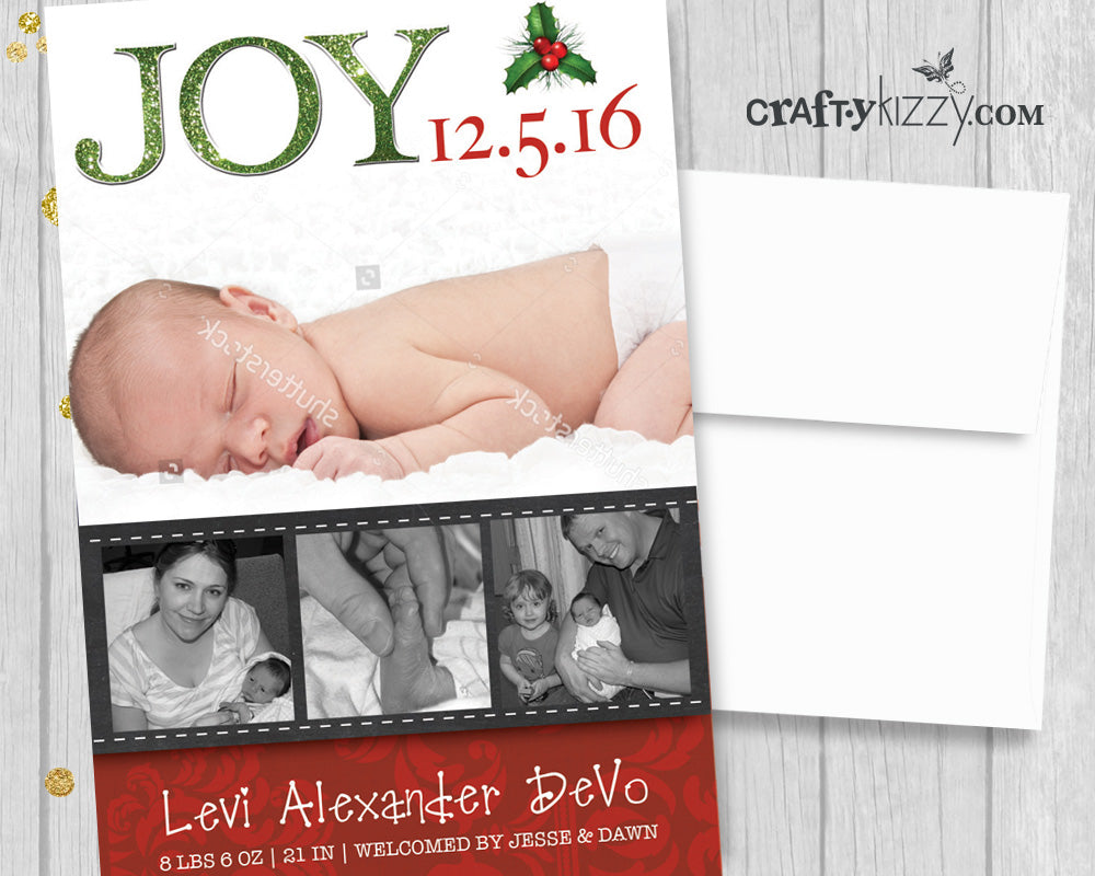 Christmas Birth Announcement Card - Joy Birth Announcement Card - Photo Card - Holiday Printable File - CraftyKizzy