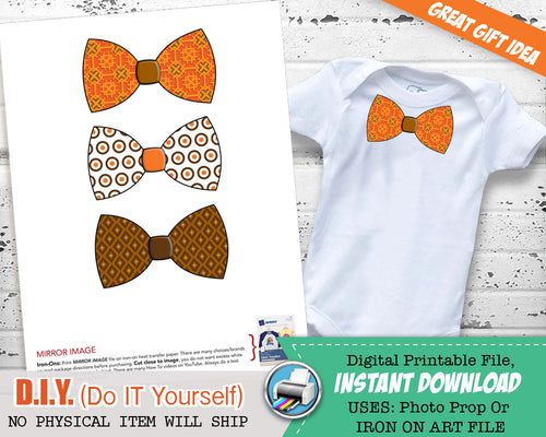 First Thanksgiving Boy Fall Bow Tie Iron On Shirt - 1st Halloween Bow Tie - Little Man Bow Tie - Boho Hipster Iron Ons - INSTANT DOWNLOAD - CraftyKizzy