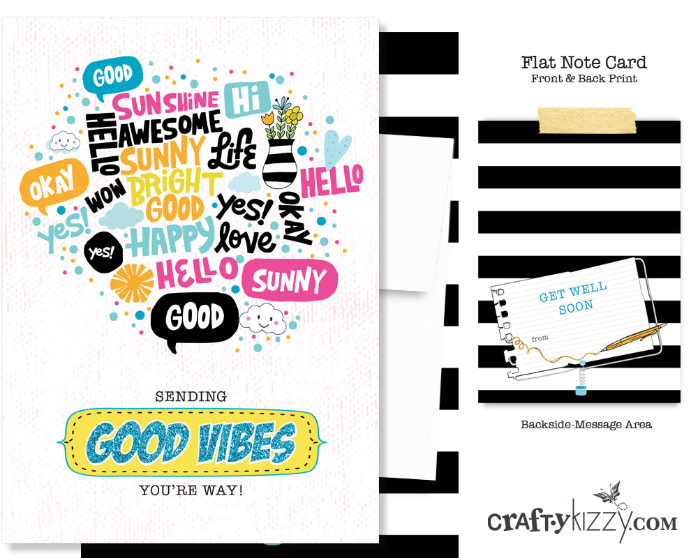 Sending Good Vibes You're Way Greeting Card - Typographical Get Well Note Card - Greeting Card  #GC007 - CraftyKizzy