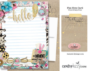 Hello Greeting Card and Envelope - Vintage Chic - Snail Mail Movement Note Card #GC008