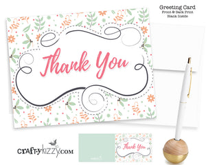 Thank You Card and Envelope - Modern Floral Design - Baby Shower Thank You Cards - Blank Inside - Ships in 24 HRS #GC004 - CraftyKizzy