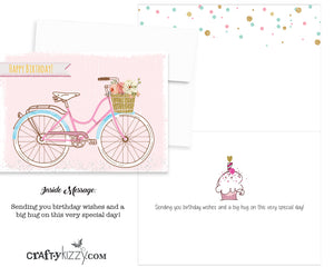 Happy Birthday Card and Envelope Vintage Beach Bike - Folding Greeting Card Printed Message Inside Ships in 24 HRS #GC002