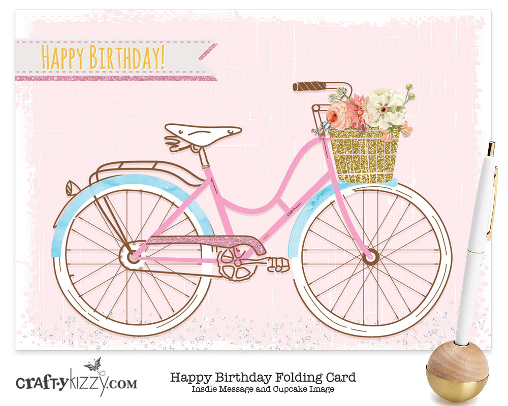 Happy Birthday Card and Envelope Vintage Beach Bike - Folding Greeting Card Printed Message Inside Ships in 24 HRS #GC002 - CraftyKizzy