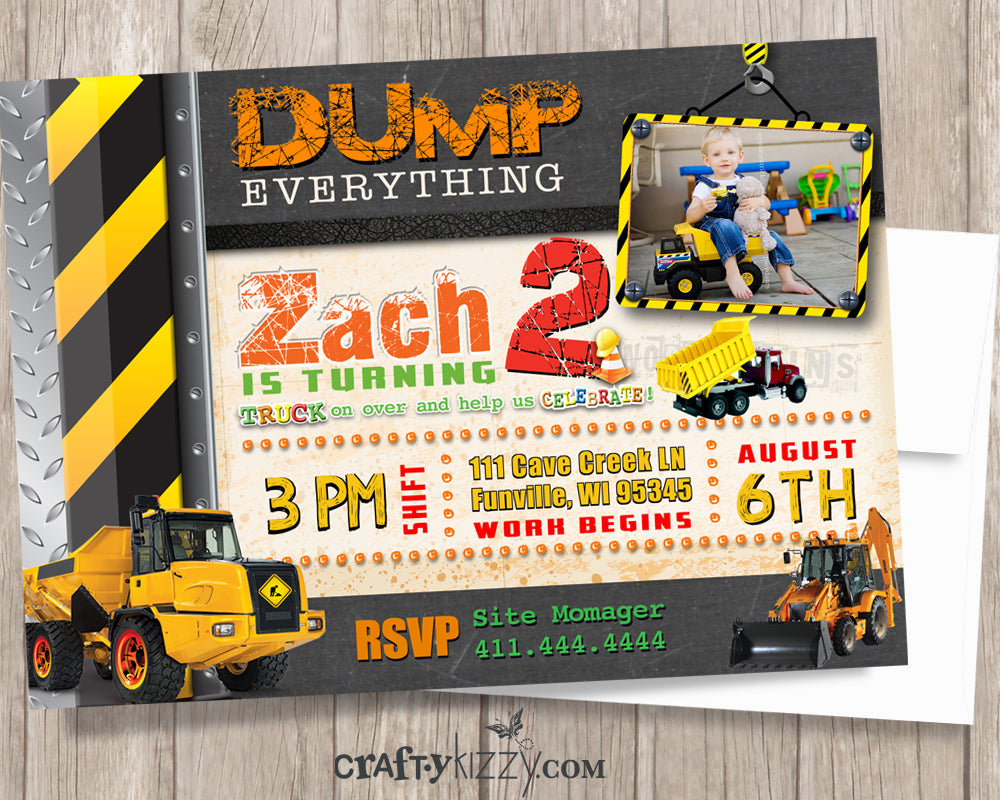 Dump Everything Boy Construction Birthday Invitation - Construction Birthday Party - Under Construction Invitations