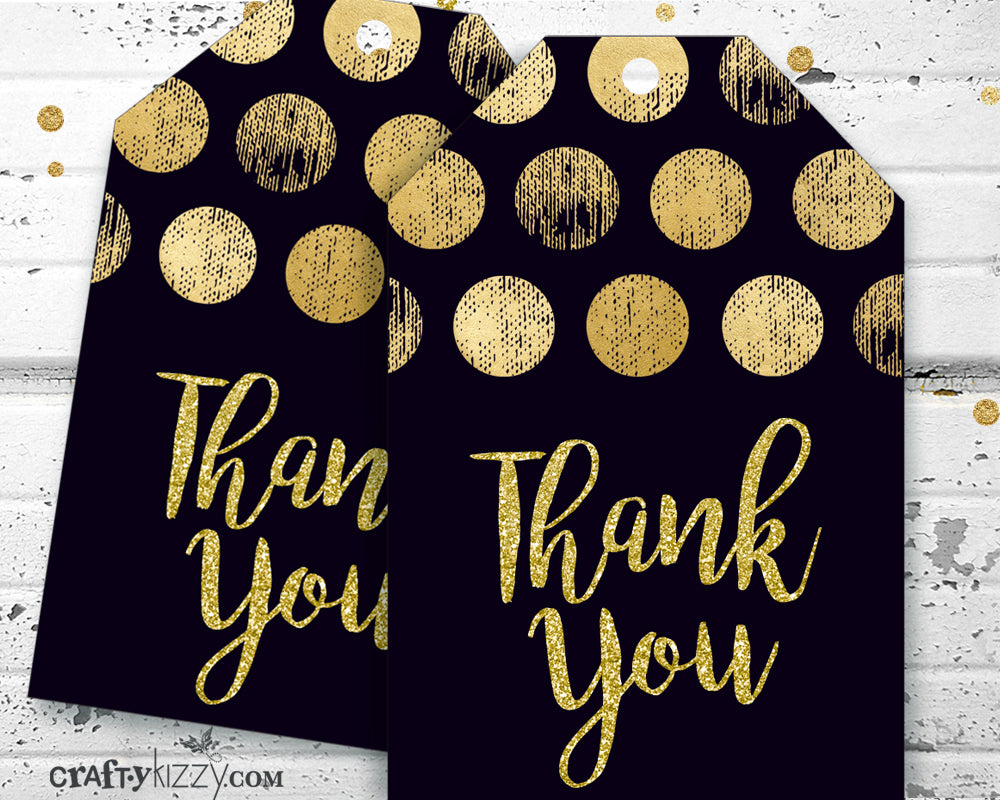 Wedding Gold and Black Thank You Favor Tags - Bridal Shower Tag - Baby Shower - Birthday Tags - INSTANT DOWNLOAD - CraftyKizzy