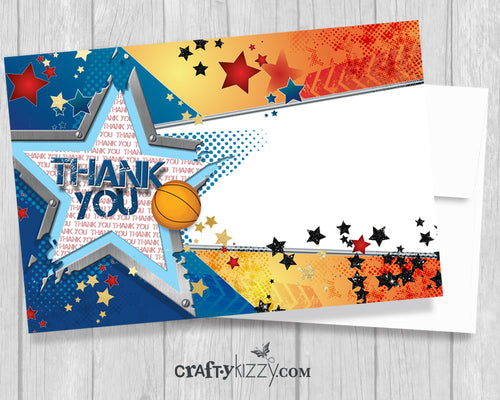 Basketball Printable THANK You Card - All Star Birthday - Boy's Birthday Thank You Cards - INSTANT DOWNLOAD