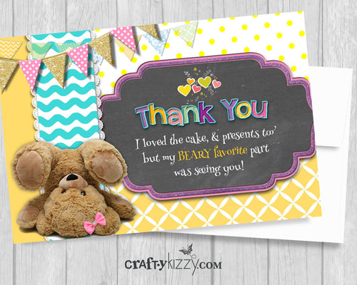 teddy bear thank you card girl