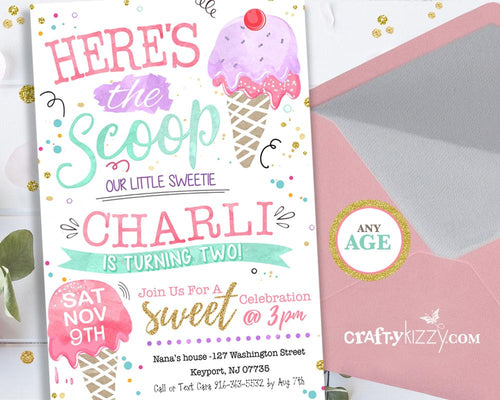 Ice Cream Birthday Invitations - Twins First Birthday - Girl Ice Cream Social Invitation - Two Scoops - Here's The Scoop - CraftyKizzy