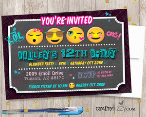 Emoji Tween birthday invitation