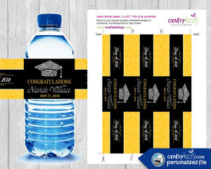 Blue and Yellow Graduation Water Bottle Wrapper - Labels - Congrats Grad Party Favors - Black Red - Personalized