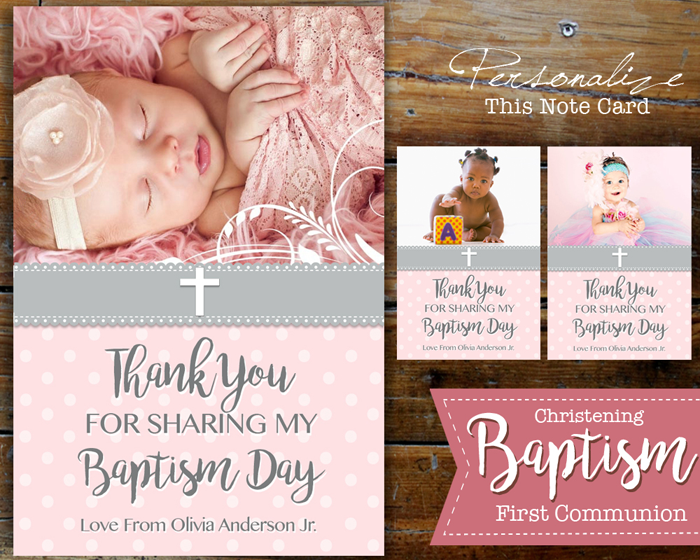 Christmas Christening.Unisex Christmas Christening First Communion Baptism Photo Thank You Card Boy Girl Printable Personalized Note Card Red Gold