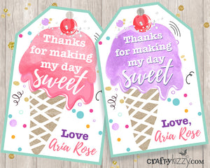 Ice Cream Happy Birthday Pennant Banner Printable Bunting Flag Banner - Party Flags P0001 - INSTANT DOWNLOAD - CraftyKizzy