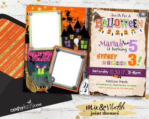 Kids Joint Halloween Party Invitations - Sibling Birthday Invitation Children Costume Party Printable - Twin Twins - CraftyKizzy