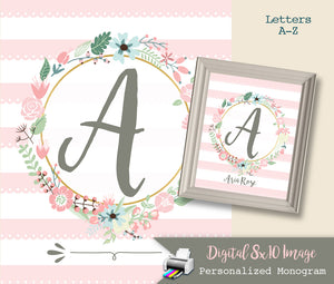 Pink Nursery Monogram Art Print - Baby Girl Monogram - Nursery Wall Art Decor - Custom Nursery Art - Floral Letters - Printable