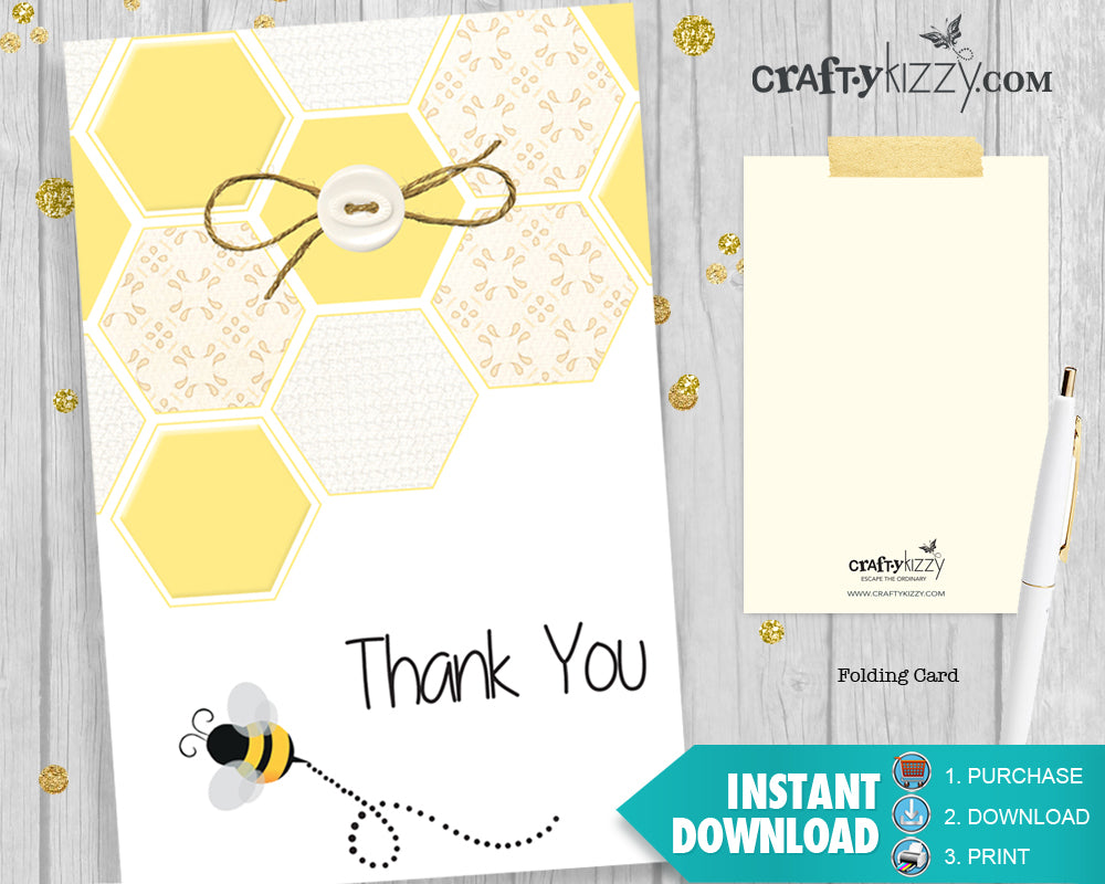 Gender Neutral Bumble Bee Thank You Cards