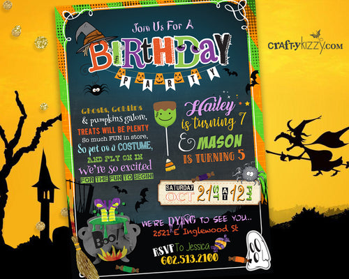 Halloween Joint Birthday Invitation - Sibling Halloween Costume Party Invitations - Kids Halloween Party Printable - CraftyKizzy