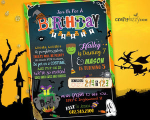 Halloween Joint Birthday Invitation - Sibling Halloween Costume Party Invitations - Kids Halloween Party Printable
