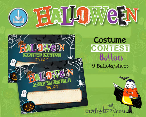 Halloween Costume Contest Ballot Tags Voting Cards - Printable Entry Card Halloween Printable Ballots INSTANT DOWNLOAD - CraftyKizzy