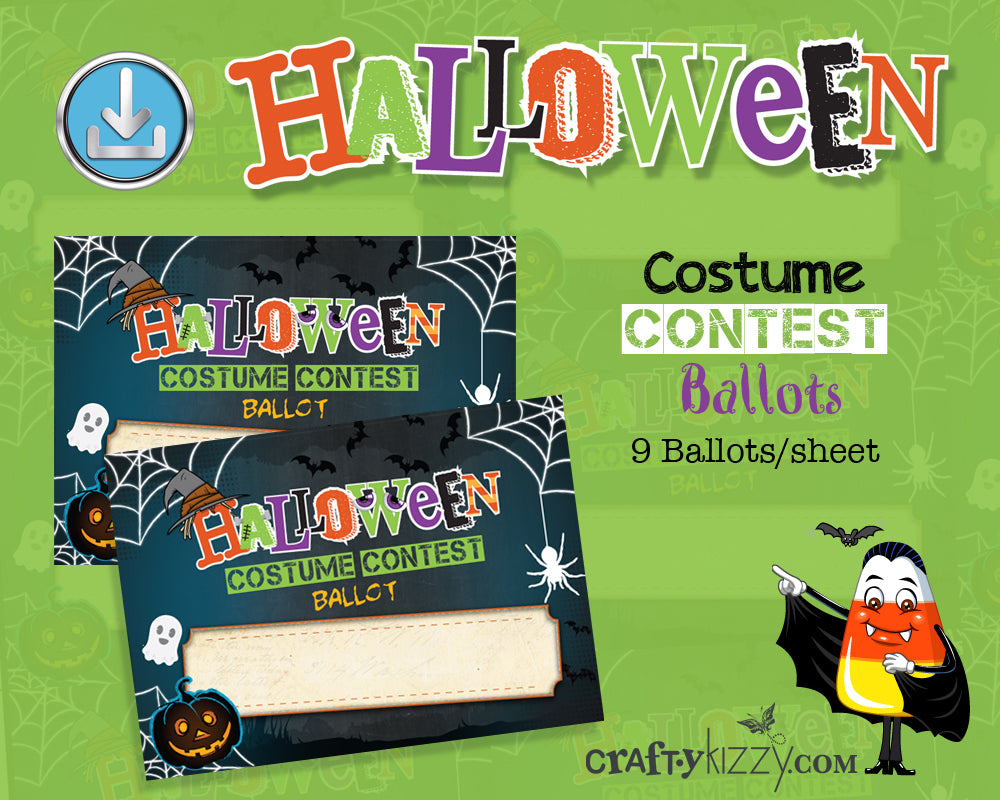 Halloween Costume Contest Ballot Tags Voting Cards - Printable Entry Card Halloween Printable Ballots INSTANT DOWNLOAD