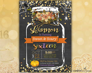 Sweet Sixteen Fall Birthday Invitation - Halloween Sweet 16 Invites - Girls 16th Birthday Rustic - Sweet & Scary Sixteenth Birthday Invitation