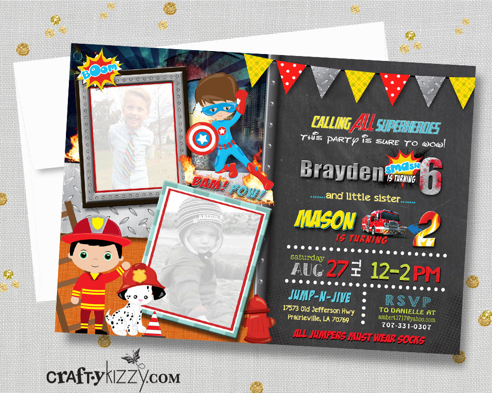 Sibling Birthday Invitation - Fire Trucks and Superheroes Joint Invitations - Boy Printable Party Invites