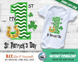 My First St Patrick's Day Iron On Printable Outfit - Boy Transfer Decal - Digital St Paddy's - Gold Horse Shoe - INSTANT DOWNLOAD