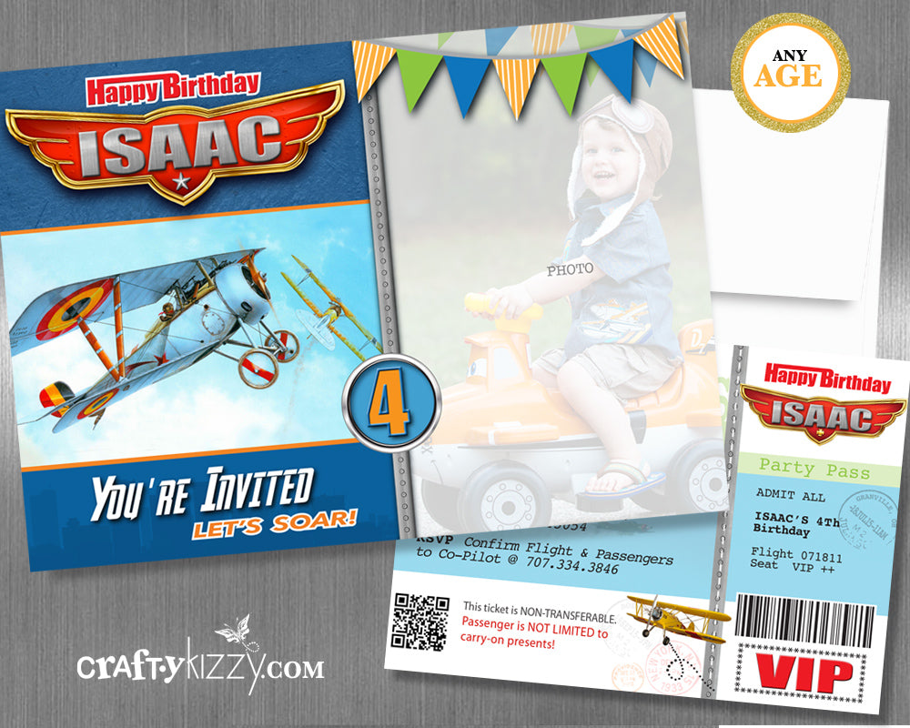 Vintage Airplane Birthday Invitation - Boarding Pass Airplane Party Invite - Planes Time Flies Invitation First Second Third Birthday Invitation