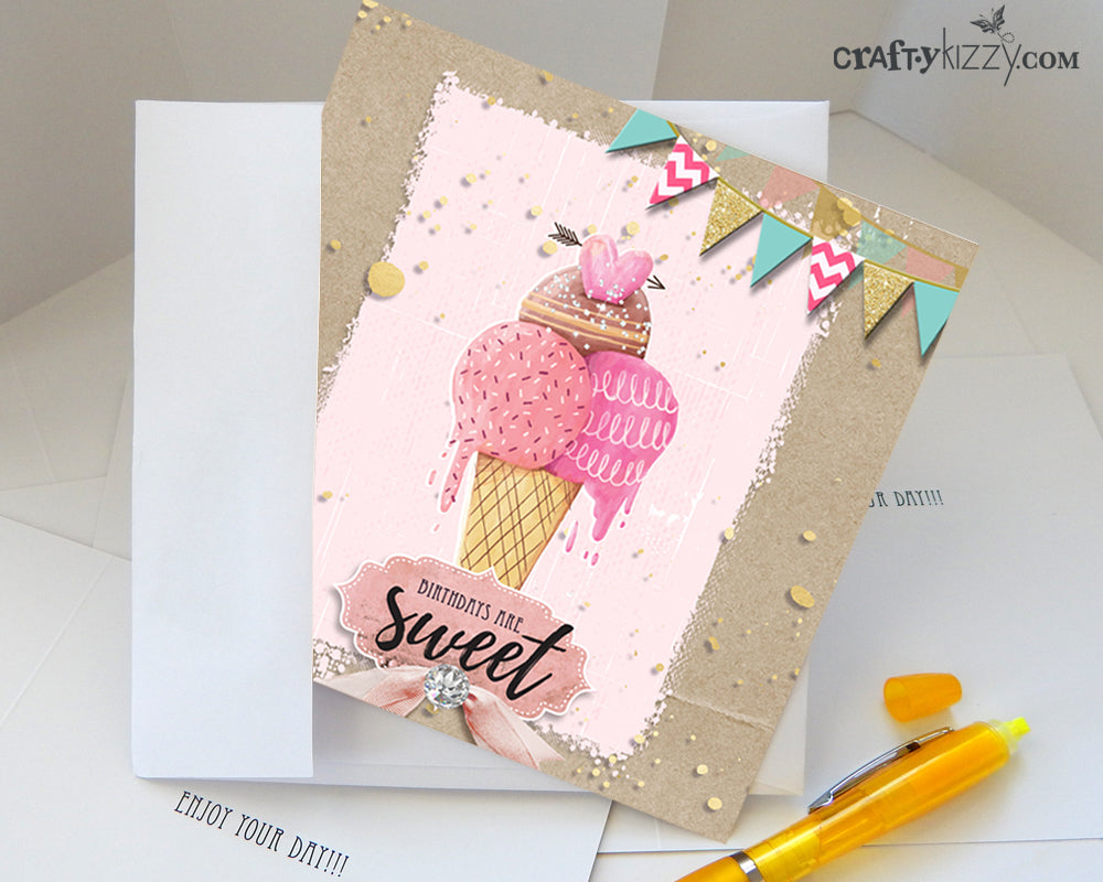 Birthdays Are Sweet Greeting Card and Envelope - Watercolor Ice Cream Folding Note Card - Printed Message Inside #GC009 - CraftyKizzy