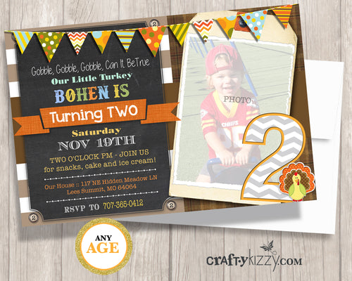 Our Little Turkey Is Turning Two Birthday Invitation - Boy 2nd Birthday Invitation Gobble Gobble Gobble Orange Yellow Rustic Fall Party