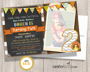 Our Little Turkey Is Turning Two Birthday Invitation - Boy 2nd Birthday Invitation Gobble Gobble Gobble Orange Yellow Rustic Fall Party - CraftyKizzy