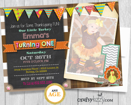 Girl First Birthday Invitation Gobble Gobble Gobble Our Little Turkey Is Turning One - Rustic Fall Party - 1st Birthday Invitation