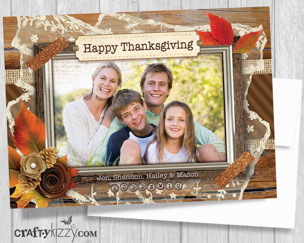 Thanksgiving Photo Card - Printable Family Photo Card - Happy Thanksgiving Greeting Card - Thankful Blessed Rustic Distressed Vintage