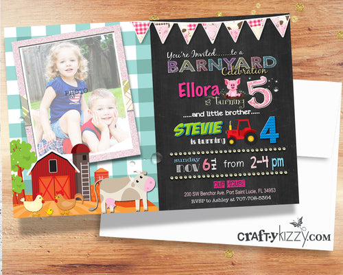 Barnyard Sibling Birthday Invitations - Joint Party Farm Animals and Tractors Invite - Barnyard Invitation - Girl Boy Girls Boys
