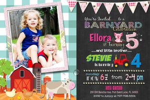 Girls Barnyard Sibling Birthday Invitations - Farm Animals and Tractors Girl Joint Party Invite - Barnyard Invitation - CraftyKizzy
