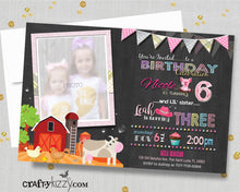 Girls Barnyard Sibling Birthday Invitations - Farm Animals and Tractors Girl Joint Party Invite - Barnyard Invitation