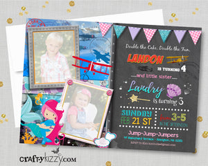 Mermaid Birthday Invitations - Joint Airplane Party Invitation - Mermaids and Planes Sibling Invite Girl Boy Twin Twins
