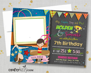Twins Gymnastics Joint Birthday Invitations - Sibling Gymnast Party Invitation - Double Joint Flip Tumble Jump and Play Invite